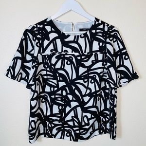 J. Crew 365 black white abstract blouse size 4 top